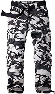 Men's Military Tactical Pants Casual Army Camo Combat Cargo Work Pants BDU Trousers with 8 Pockets