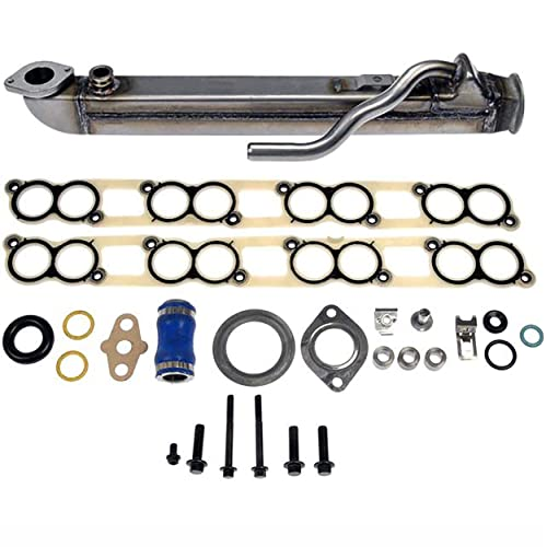 363cid OHV V8 New EGR-CK-300 UPGRADED 6 Stainless Steel Tubes EGR Cooler Kit with Gaskets 04-10 Ford PowerStroke Diesel Turbo E-Series F-Series Excursion 6.0L