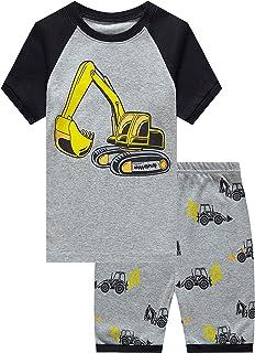 Little Big Boys Summer Snug-Fit Pajamas Short 100% Cotton...