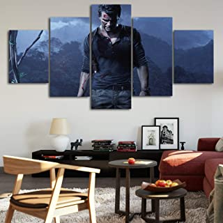 Uncharted 4:A Thief's end Canvas Posters Home Decor Wall Art Framework 5 Pieces Paintings for Living Room HD Prints Game Pictures