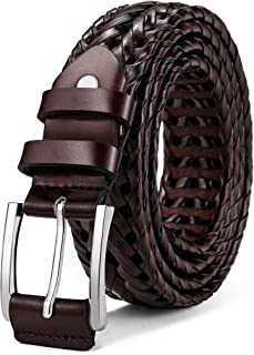 Mens Belts,Bulliant Leather Woven Braided Belts for Men Casual Jeans Golf,Anyfit,Gift Boxed
