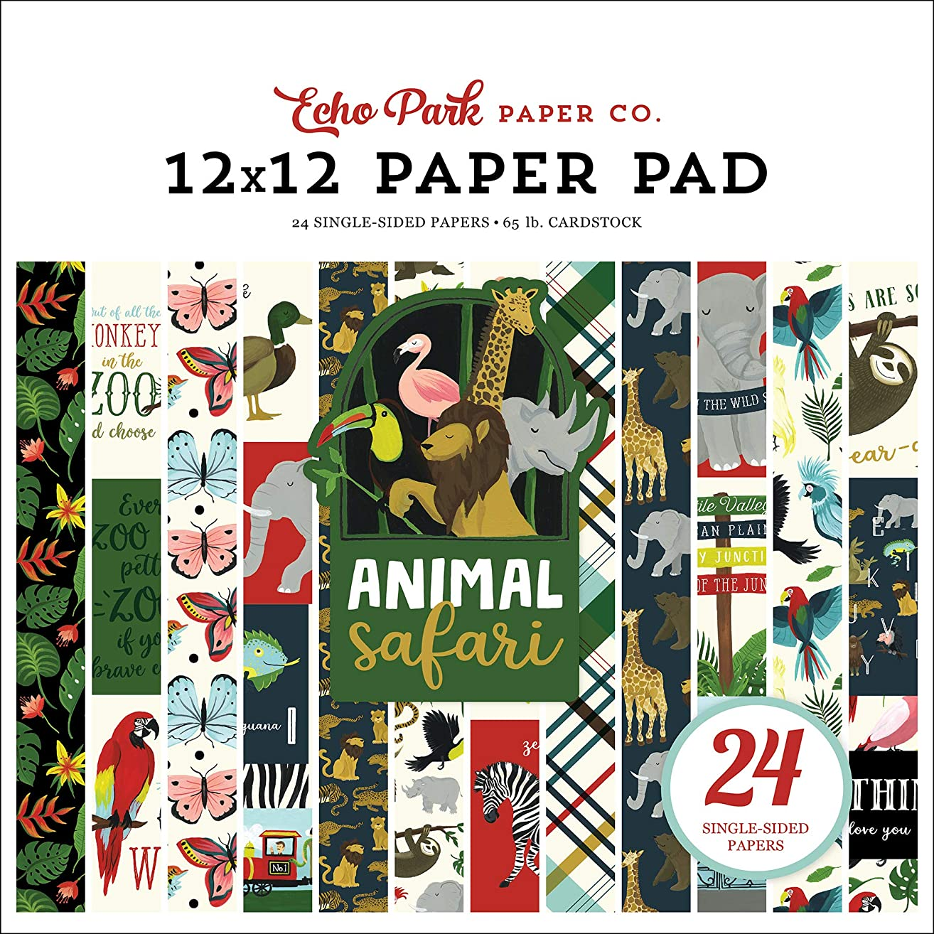Echo Park Paper Company ZOO167030 Animal Safari 12X12 Pad Paper Green, Navy, Blue, Yellow, red, Pink prjuao8423574915