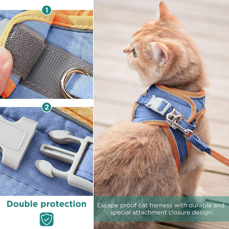 GeeRic Arn/és Gatos,Arn/és para Gato Antiescape y Ajustable Reflectante Chaleco Cuerda para 2kg-7.5kg Gatos y Cachorros,Entrenamiento y Caminar