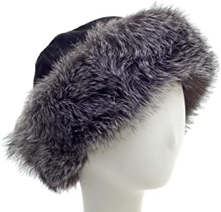 surell Fox Cuff Winter Hat - Warm Winter Fashion - Bridal Wedding Attire Black