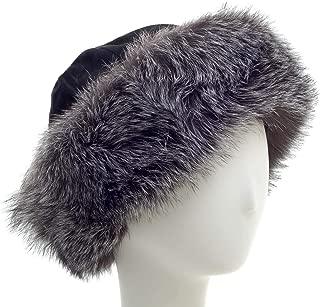 surell Fox Cuff Winter Hat - Warm Winter Fashion - Bridal Wedding Attire Black