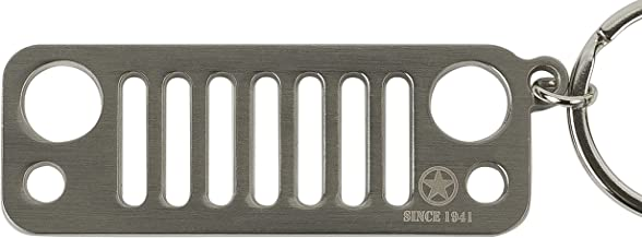 Since 1941 JK Jeep Wrangler Grille Keychain - Stainless Steel - Color, Silver - Key Ring Included