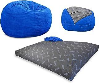 CordaRoy's Corduroy Convertible Chair Folds Bed, As Seen on Shark Tank Bean Bag | Full, Royal Blue
