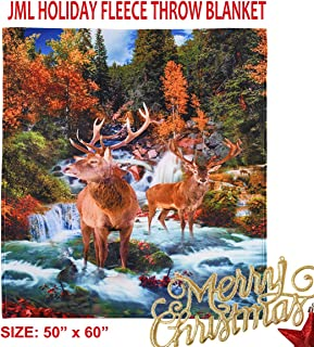 """JML Flannel Fleece Throw Blanket for Couch Sofa, Super Soft Warm Christmas Holiday Plush Throw Blanket Lightweight and Cozy Bed Blanket 50""""x 60""""- Christmas Theme Elk Throw for Home Decor,Gift,Outdoor"""
