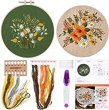 FEPITO Borduurstartpakket met patroon en instructies borduurpakket inclusief borduurkleding met bloemmotief, plastic bordu...