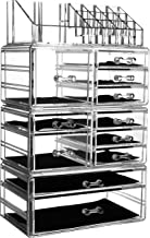 "Cq acrylic 11 Drawers and 16 Grid Makeup Organizer,9.5""x6.5""x14.5"",Clear,Pack of 1"