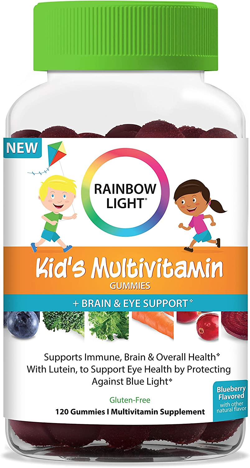 Rainbow Light Kid's Multivitamin Gummies Plus Brain and Eye Support with Lutein to Protect Against Blue Light, Blueberry Flavor - 120 Gummies*