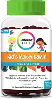 Rainbow Light Kid's Multivitamin Gummies Plus Brain and Eye Support with Lutein to Protect Against Blue Light, Blueberry F...