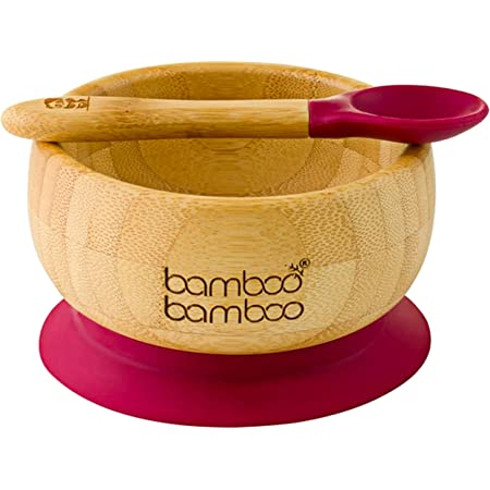 Baby Suction Bowl and Spoon Set Natural Bamboo Stay Put Feeding Toddler Baby Bowls