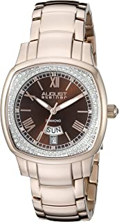 August Steiner Women's AS8193RGBR Rose Gold Swiss Quartz Watch with Brown Dial and Rose Gold Bracelet