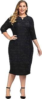 فستان شيك للنساء مقاس كبير من الكشمير بملمس متغير مع فتحة عنق وزركشة معدنية - طول الركبة كاجوال وفستان عمل
