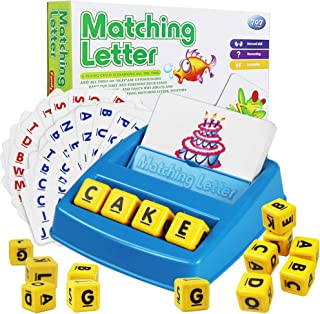 Cokoka Matching Letter Game with 16 Letter Cubes, Word Spelling Game Preschool Learning Toys for Kids Age 3-8 - Best Presc...