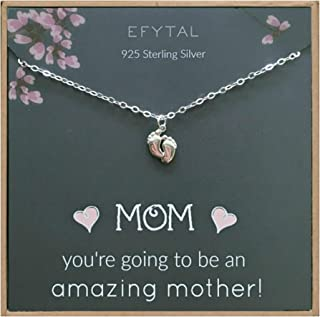 EFYTAL Baby Shower Gift, 925 Sterling Silver Tiny Baby Feet Necklace for Expecting New Mom, Pregnant Mother To Be Jewelry, Mother`s Day Gifts for Her