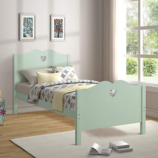 Bed Frame Twin Platform Bed With Wood Slat Support And Headboard And Footboard Mint Green