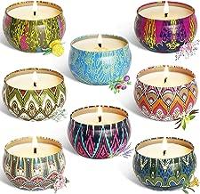 YIHAN Scented Candles Lemon, Lavender, Mediterranean Fig,Bergamot,Vanilla,Jasmine,Rose and Spring Fresh,Natural Soy Wax Portable Travel Tin Candle,Set Gift of 8