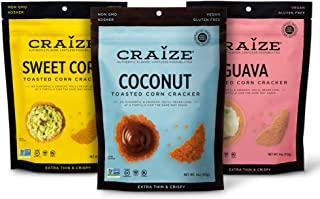 Craize Thin & Crunchy Toasted Corn Crackers – Sweet Mix Flavored Healthy & Organic Gluten Free Crackers - 3 Pack, 4 Ounces...