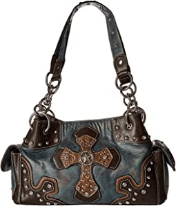 M&F Western Texas Star With Cross Satchel