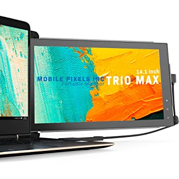 Mobile Pixels Trio Max Portable Monitor, 14'' Full HD IPS Dual or Triple monitors for laptops, USB C / USB A powered portable display with touch-sensitive menu ,Windows/OS/Android System Compatible
