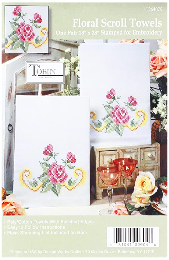 Tobin 264079 Stamped Kitchen Towel for Embroidery, Floral Scroll