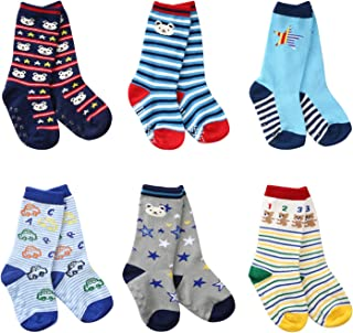 6 Pairs Toddler Non Skid Cotton Socks with Grip Baby Boy Knee High Socks by Flanhiri