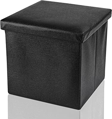 ARPAN Ottoman Deluxe Foldaway Storage Blanket Toy Box Foldable Stool Seat Soft Padded, Faux Leather, Black,