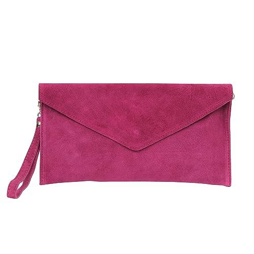 AMBRA Moda Mujer ante Envelope Clutch correa de mano bolso hombro Antebrazo bolso para mujer de