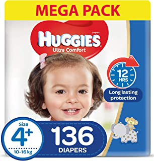 HUGGIES Ultra Comfort Diapers, Size 4+, Jumbo Pack, 10-16 kg, 136 Diapers