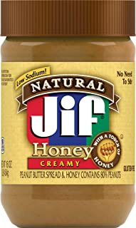 Jif Natural Creamy Peanut Butter Spread and Honey, 16 Ounces, Contains 80% Peanuts