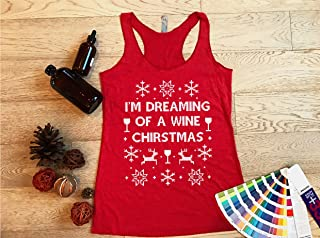I'm Dreaming Of A Wine Christmas. Women's Tanks. Eco Tri-Blend Racer Tanks. Women Clothing. Workout Holiday Tank Tops. Wine Christmas Tank.