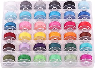 Isrono 36 Pcs Sewing Machine Bobbin Threads with Clear Storage Box Assorted Colors Pre-Wound Bobbins Set for Brother Janom...