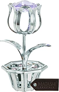 Matashi Chrome Plated Tulip Flower Table Top Ornament with Purple Crystals Decorative, Shiny Metal Artwork with Planter Base Elegant Home Office Decor