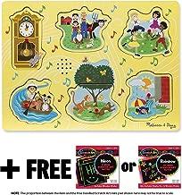 Sing-Along Nursery Rhymes 1: 6-Piece Sound Puzzle + FREE Melissa & Doug Scratch Art Mini-Pad Bundle (07351)