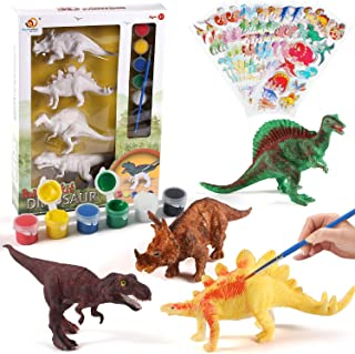 NEOWOWS Decorate Your Own Dinosaur Figurines DIY Dinosaur Arts Crafts 3D Painting Dinosaurs Toys for Kids Boys Girls