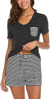 Hotouch Womens Pajama Set Striped Short Sleeve Sleepwear Pjs Sets