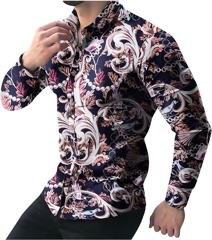Long Sleeve Dress Shirt for Men Floral Print Button T Shirt Classic Business Shirts Regular Fit