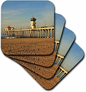3dRose Huntington Beach Pier-Soft Coasters, Set of 4 (CST_26245_1)