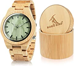 BOBO BIRD Wooden Men's Bamboo Watch with Luminous Night Silver Pointer Casual Sports Watches Gift with Box