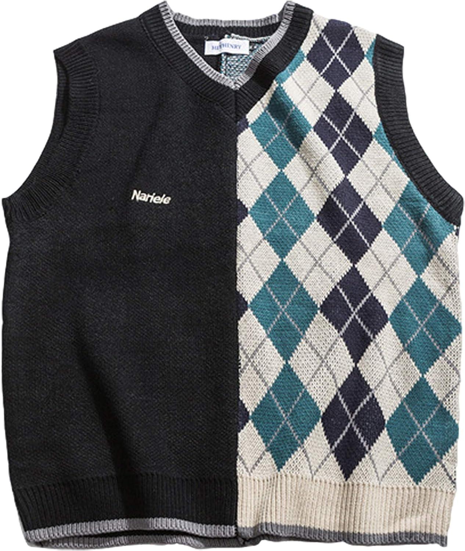 Yimoon Women's Oversized Sleeveless Knitted V Neck Contrast Color Sweater Vest