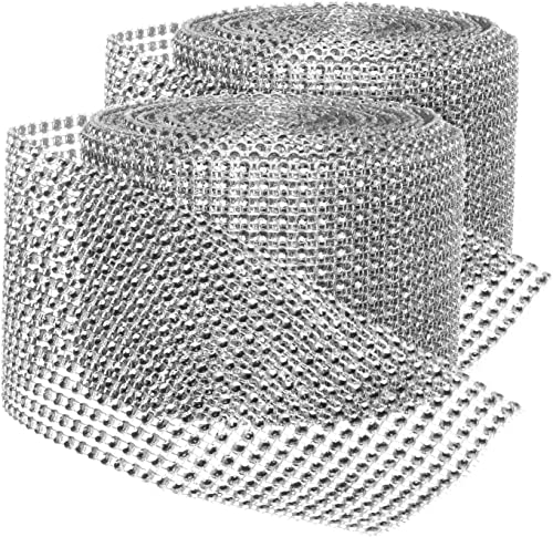 lowest Rhinestone Diamond Bling Wrap Ribbon for Wedding new arrival wholesale Cake, Party, Holiday & Home Decoration, Silver 16-Rows, (2 Rolls) 10 YDS EA. sale