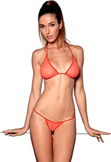 ece6c6c719 Micro Bikini Transparent Maillot de Bain String en Fine résille Noir Blanc  Rose Orange Vert -