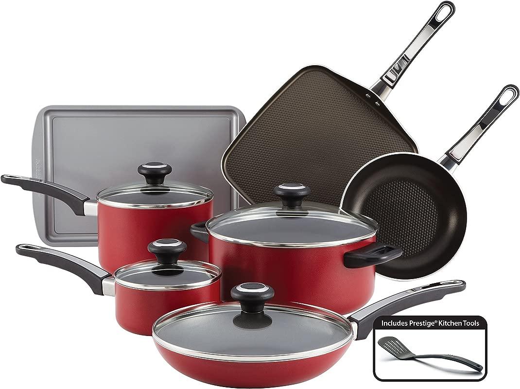 Farberware High Performance Nonstick Aluminum 12 Piece Cookware Set Red