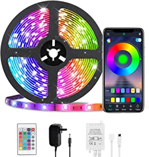 LED Strip Lights, HKESTAR Color Changing 16.4ft 300 LEDs Flexible Light Strip SMD 5050 RGB Rope Lights with Bluetooth Controller Sync to Music APP for Home Kitchen TV Bedroom