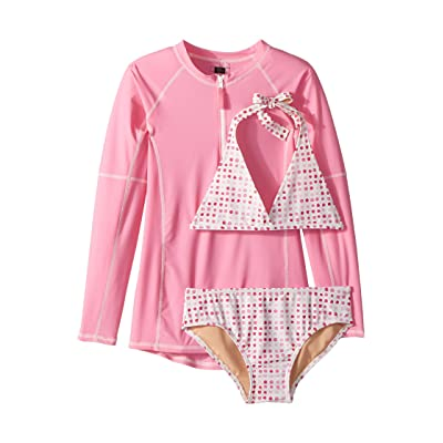 Toobydoo Pink Dot Bikini Rashguard Set (Infant/Toddler/Little Kids/Big Kids) (Pink) Girl