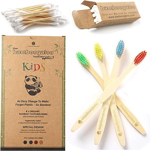 Bamboogaloo Brosses à dents en Bambou pour Enfants - Biologique et Écologique, Lot de 4, Avec Cadeau de Coton-Tige en...