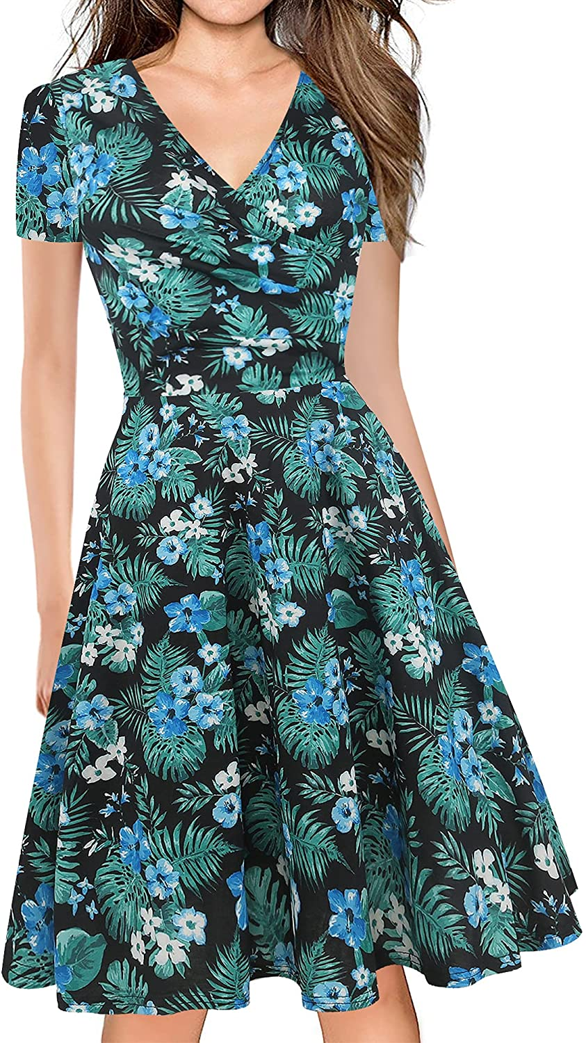oxiuly Women's Chic Deep V-Neck Summer Casual Dress A-Line Graduation Gown Party Tea Dresses with Pockets OX288