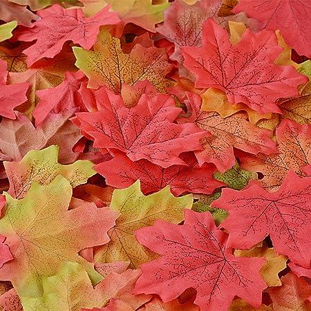 Sweelov 250 Stück Künstliche Ahornblatt Herbstlaub Blätter Ahorn Laub Simulation Ahornblatt Für Halloween Erntedankfest Weihnachten Unterlage Wandbild 5 Farben Küche Haushalt